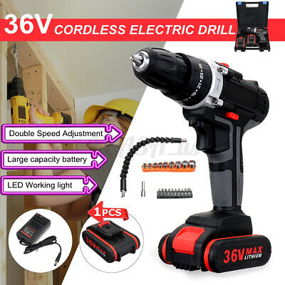 View Details 48 Volt Drill 2 Speed Electric Cordless Drill / Driver W/ Bits Set & 2 Batteries • 41.89$
