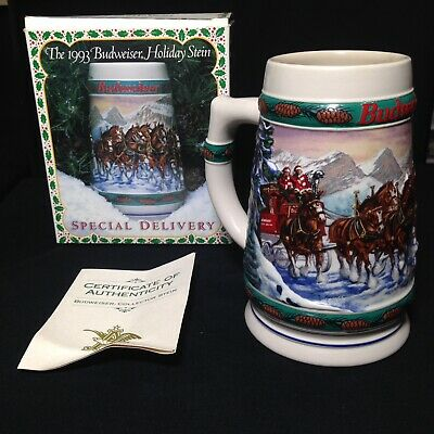 """$ CDN24.71 • Buy BUDWEISER 1993 Holiday Series Beer Stein CS192 """"Special Delivery"""" Box & COA"""
