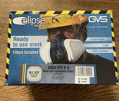 £20 • Buy GVS Elipse Half Face Mask Respirator P3 Size Medium/Large With Filters.