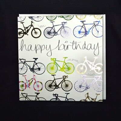 £2.50 • Buy Cycling Bicycle Happy Birthday Card - Quicksilver Foil Design Made In The UK