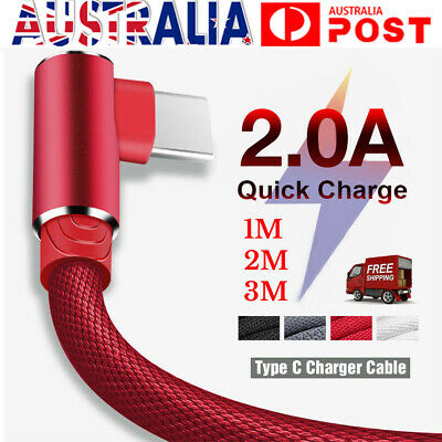 AU8.23 • Buy 1M 2M 3M 90° Fast Charging Type C USB C Data Sync Charger Cable Cord For Samsung