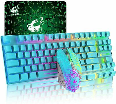 AU52.63 • Buy Wireless Gaming Keyboard And Mouse 87 Keys Rainbow Backlit Mute Mice For PC PS4