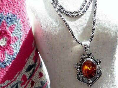 £136.50 • Buy 💕ACE💕 22g Sterling Silver 925 Amber Pendant Oxidised 32  LONG Popcorn Necklace