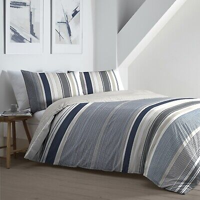 £20.89 • Buy Falmouth Nautical Stripes Duvet Cover Quilt Cover Bedding Bed Set King Navy Grey