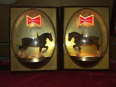 $ CDN283.24 • Buy Pair Vintage Budweiser Clydesdale Bubble Dome Lighted Beer Sign Bar Light Horse