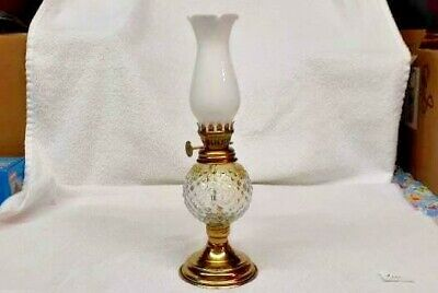 $7.95 • Buy Vintage Miniature Oil Lamp / Clear Hobnail With Milk Glass Chimney   #101
