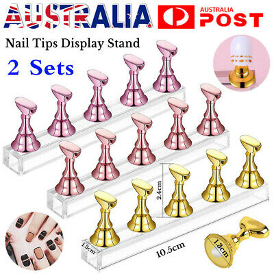 AU7.20 • Buy 2 Sets Acrylic Nail Art Practice Display Stand Magnetic Nail Art Tips Holders