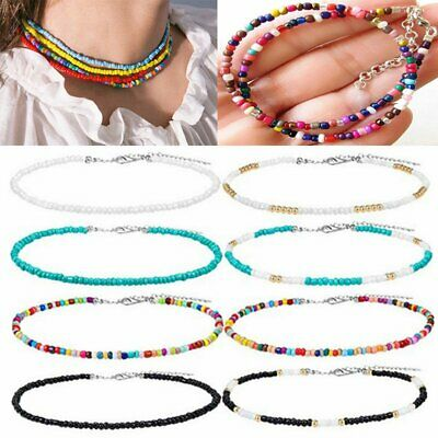 AU1.89 • Buy Boho Colorful Seed Beads String Beaded Choker Clavicle Chain Necklace Women Gift