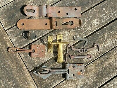 £4 • Buy Group Of Old Hasp & Staple Catches, Cupboard/Window Brass T-Catch & Drop Hooks