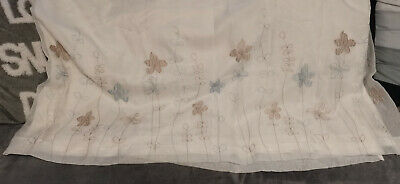 £10 • Buy White Floral Lined Luxury Embroidered Voile Curtains 90X72  Inches Pencil Pleat