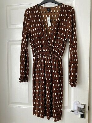 £7.50 • Buy Brand New With Tag River Island Size 10 Dress Brown Polka Dot