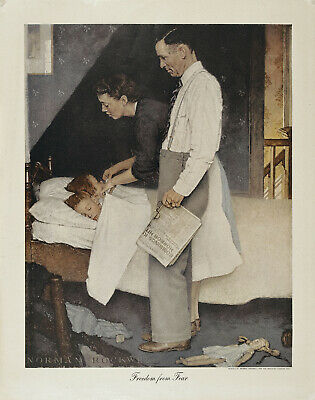 $ CDN218.45 • Buy NORMAN ROCKWELL Vtg 1943 WWII Sm Halftone Poster Four Freedoms FREEDOM FROM FEAR