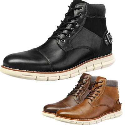 $33.24 • Buy Men's Motorcycle Combat Boots Lace Up Inside Zipper Chukka Boots Shoes Size US