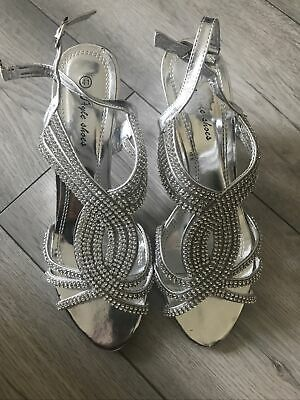 £8.99 • Buy Silver Valavera Sandals Wedding Party Shoes Used (once) Very Comfy