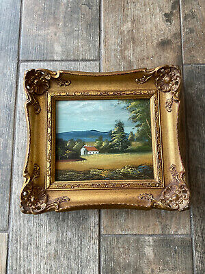 £43.99 • Buy Beautiful Gold Gilt Rococo Style Painting Cottage Scene Picture Frame Hanging