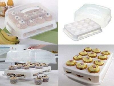 £14.99 • Buy 2 Tier 24 Cupcake Carrier Holder Muffins Caddy Stackable Cake Storage Party Box