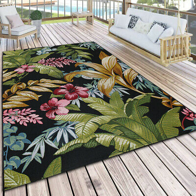£49.39 • Buy Outdoor Rug Plastic Black Multicoloured Flat Weave Floral Large XL Small