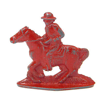 $20 • Buy 1910's CRACKER JACK PRIZE HORSE AND RIDER CAST METAL TOY STAND UP MILITARY RED