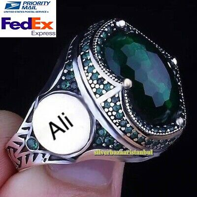 $59.90 • Buy Personal Customizable Name Letter Emerald Stones 925 Silver Mens Ring
