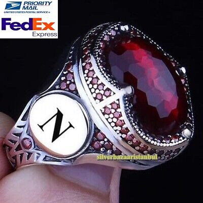 $59.90 • Buy Personal Customizable Name Letter Ruby Stones 925 Silver Mens Ring