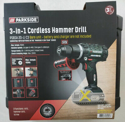 £43.95 • Buy Parkside 20v Cordless Impact Driver Hammer Drill 3 In 1 Bare Unit Only 2021
