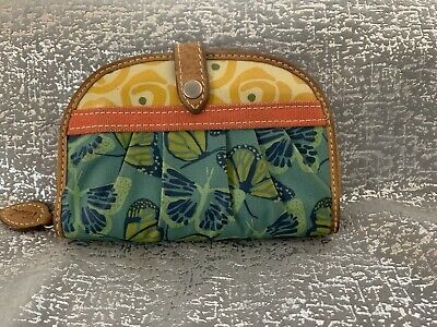 $26.99 • Buy FOSSIL Coated Canvas Domed Wallet Butterfly And Floral Patterns Zip Round NWOT