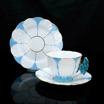 £700.67 • Buy AYNSLEY Butterfly Antique Handled Blue White Trio Set Cup & Saucer & Plate Japan