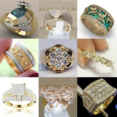 £2.92 • Buy Fashion 18k Yellow Gold Plated Jewelry Women Cubic Zirconia Party Rings Size6-10