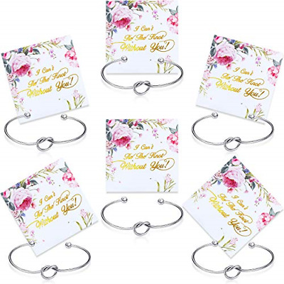 £9.36 • Buy 6 Pieces Bridesmaid Bracelet Knot Cuff Bangle With I Can't Tie The Knot Without