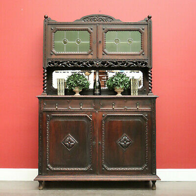 AU1450 • Buy One Of A Matching Pair, Antique French Oak Sideboard 2 Height Cabinet Cupboard