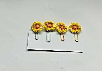 £4.05 • Buy Handmade Air Dried Clay Sunflower Decorated Large Med Paper Clips Embellishments
