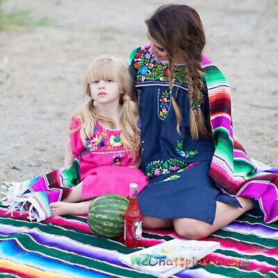 £19.99 • Buy Mexican Blanket Rainbow Yoga Picnic Camping Home Tapestry Shawl Cloak Rug