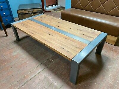 £350 • Buy Large Coffee Table/6 Ft/  Metal/ Solid Wood/ Indonesian/ Modern/ Hole Detailing