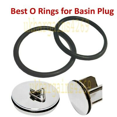 £3.89 • Buy 2X Sink Waste Basin Plug Ring Seal Bathroom Pop Up Spare Seal Washer Pack Of 2
