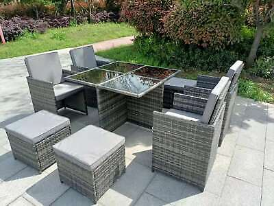 £499.99 • Buy Garden Conservatory Furniture 8 Seater Grey Cube Rattan Sofa Set Dining Table