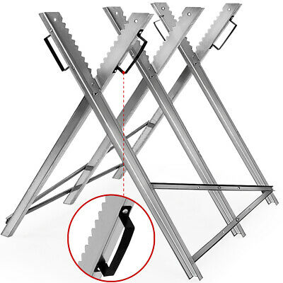£29.95 • Buy Saw Horse Folding Chain Saw Log Holder Sawing Logs Galvanized Metal Trestle NEW