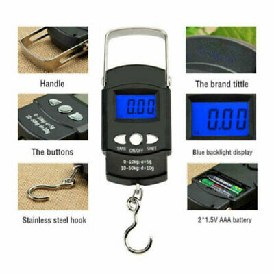 £6.99 • Buy 50kg Digital Travel Fishing Luggage 110lb To Up Weigh Scales Sea Match Carp H
