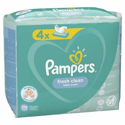 £6.95 • Buy 4 Packs (208 Wipes)Pampers Baby Wipes Fresh Clean, Light Scent BNSealed