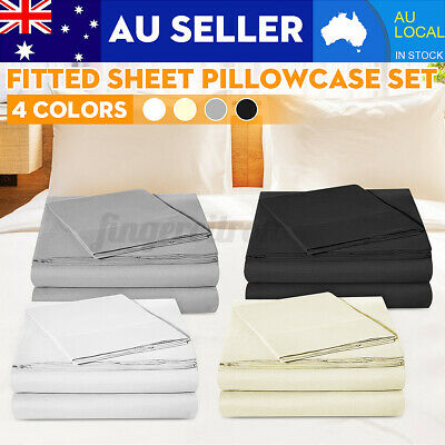 AU17.13 • Buy Single/KS/Double/Queen/King 2/3 Piece Bed Sheet Set,Flat,Fitted,Pillowcases