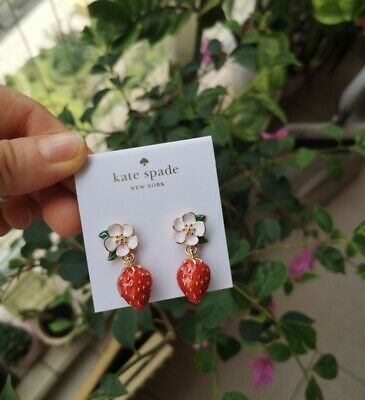 $ CDN28.94 • Buy Kate Spade New York Perfect Picnic Strawberry Gold Plated Drop Earrings