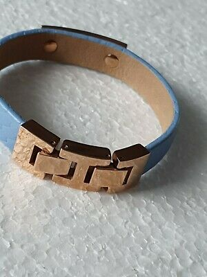 £10.99 • Buy Fossil ID Bracelet Rose Gold Colour Pale Blue Leather.womens/Girls Small Size
