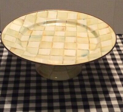 $139 • Buy MacKenzie-Childs Parchment Check Pedestal Platter - Small NWT