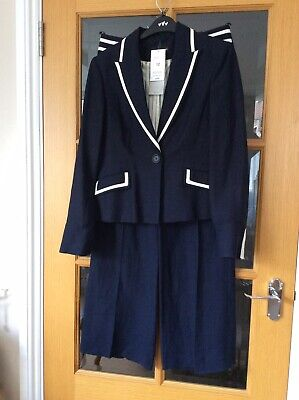 £60 • Buy Marks And Spencer (M&S) BNWT Navy Linen Rich Trouser Suit UK 10/12
