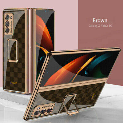 AU34.48 • Buy Plating Glass Painted Square Bracket Cover Case For Samsung Galaxy Z Fold 2 3 5G