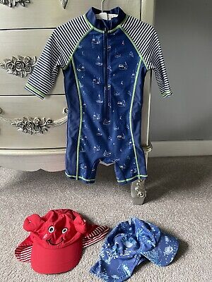 £4.20 • Buy 💙Cute Baby Boys MONSOON All In One Sunsuit Swimsuit 18-24 Months & Sun Hat X2💙