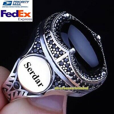 $59.90 • Buy Personal Customizable Name Letter Onyx Stones 925 Silver Mens Ring