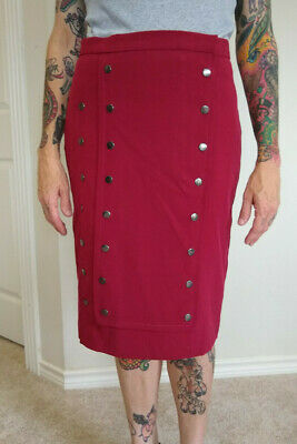 $9.50 • Buy Red Polyester Military Pencil Skirt With Snaps, Size 8