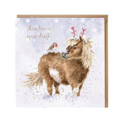 £2.75 • Buy Christmas Robin On Horse Xmas Greeting Card – Open Sleigh By Wrendale Designs