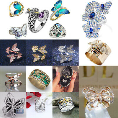 £2.05 • Buy Gorgeous 925 Silver Butterfly Rings Women Party Jewelry Wedding Rinh Size6-10