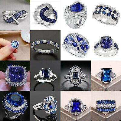 £2.86 • Buy Elegant Women Jewelry 925 Silver Rings Blue Sapphire Wedding Party Ring Size6-10